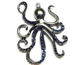 Octopus w/ Blue Glass Rhinestone Antique Silver Focal Pendant