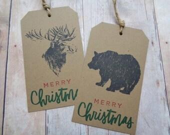 Rustic Christmas Gift Tags Woodland Moose Bear Tag Brown Kraft Merry Christmas Season's Greetings Happy Holidays Peace
