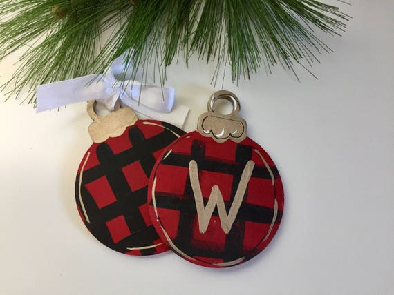 Personalized, hand painted, woodland christmas ornament,  Hand painted, buffalo check ornament, christmas plaid ornament, red and black chec