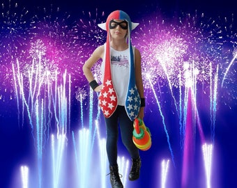 July 4th Special Edition Splatoon Hat, 4th of July Outfit Ideas, Red White and Blue, Cosplay Hat, Patriotic, American Flag, American Girl