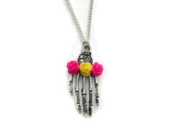 Silver Skeleton Hand Necklace with Pink and Yellow Roses, Women's charm necklace, Halloween, Spooky, Creepy Cute, Bone Hand