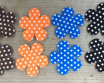 Polka Dot Flower Appliques for Making your own Hair Clips