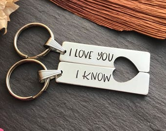 His and Hers Keyring - Hand Stamped Keyring - Valentines Day Gift - Star Wars Inspired - Personalised Keyrings - Gift for Star Wars Fan