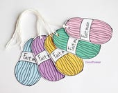 HAND made tags, ball of yarn, price, knitting, crochet, craft, label, designer labels