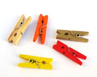 10 tiny Craft Pegs, Mini Wood clothespins -  for Banner Scrapbooking Party Favors Wrap Gift
