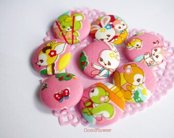9 Pink Kawaii Buttons Cute Animal Kids - giraffe bunny panda squirrel mouse - 28mm - Japanse fabric - BOUTG16