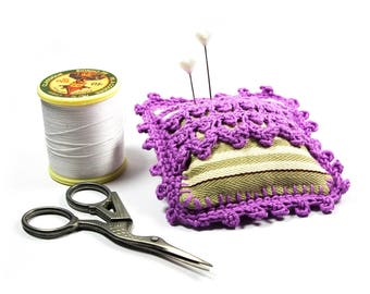 Quilted purple needles, pin cushion, Spike needle crochet material for sewing, seamstress gift