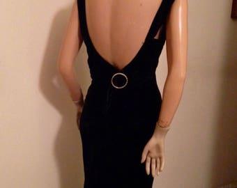 1930's Deco Black Silk Velvet Formal Dinner Gown