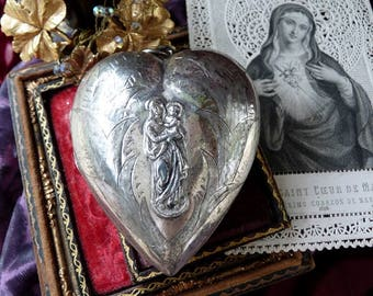 1800s Antique French Sacred Heart Reliquary, Sterling Silver Our Lady & Child Ex Voto, offered by RusticGypsyCreations