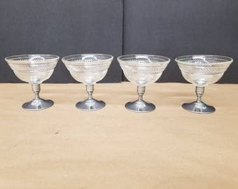 Set of 4 Vintage Aluminum and Glass Sundae Dishes