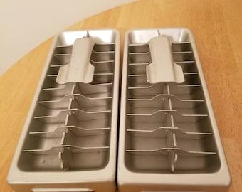 Pair of Vintage Aluminum Ice Cube Trays