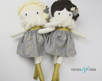 LIMITED EDITION Golden Holiday Large Mini Pals soft rag doll keepsake gift OOAK ready to ship gold silver grey