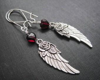 Angel Wing Garnet Heart Dangle Earrings