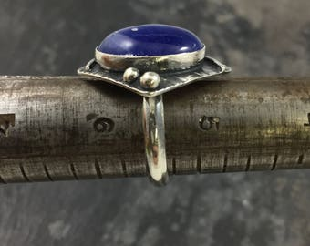 Sterling silver ring,Sodalite Ring, Size 5.5 ring, handcrafted ring, one of a kind