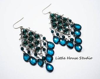 Blue Chandelier Earrings, Chandelier Earrings, Blue Chandelier Earrings, Teardrop Earrings, Gypsy Earrings, Blue Earrings, Blue Crystal Drop