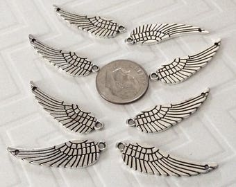 16 Silver detailed Angel Wing pendants, 2 sided WINGS, 2 hole wing necklaces, wing charms, faith jewelry