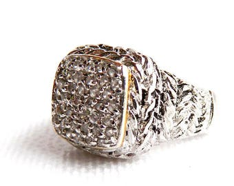 Vintage 18K White Gold Plated Rope Ring - Cubic Zircon CZ Cluster Cocktail Ring - Rhinestones - Modern - Size 9 1/2 - Mens - Signed