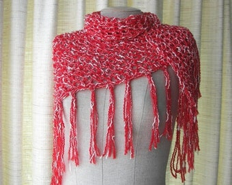 SALE Hand Knit Triangle Scarf TEXTURED knit  Shawl in 100% COTTON yarn / Red White