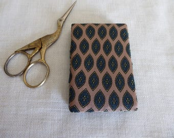 Teal rosy beige and green silk needle book