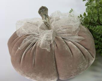 Velvet Pumpkins - Taupe Velvet - with vintage silver stem