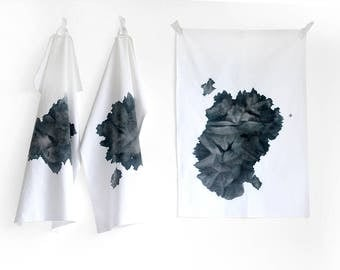 Dishcloth kitchen towel tea towel black and white big black spot blot hand dyed by renna deluxe