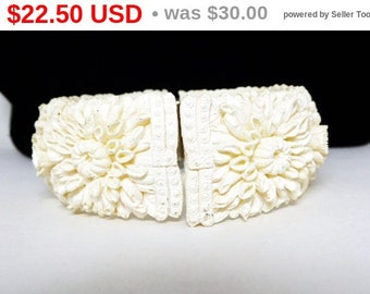 Celluloid Hinged Bracelet - Shasta Daisy - Chrysanthemums Flowers - Cottage Chic - Brides Wedding Day - Something Old - Vintage 1930's 1940s
