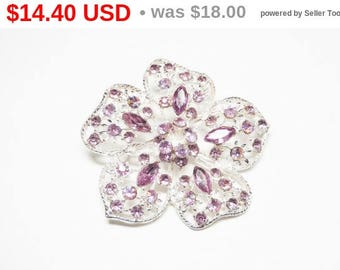 Large Pink Rhinestone Brooch - Floral Brooch with Scattered Pink Pave Set Marquis & Chatons - Five Petal Flower - Vintage Jewelry