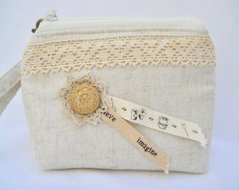 Vintage crochet with ribbons Create and Believe  on Linen Wristlet with detachable strap