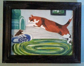 "Whimsical Calico Cat and Mouse Hunt. Small 6"" X 8"" Canvas Board Oil Painting Framed to 5.6"" X 9.6"" Cat Lover Kid's Decor Calico Cat Art"