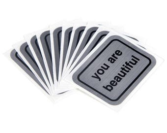 You Are Beautiful Silver Stickers