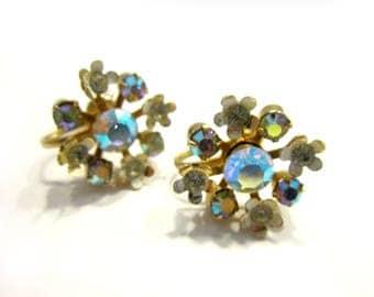 Vintage Aurora Borealis Gold Earrings Screw Back Flower Earrings Wedding Jewelry Gift for Her Under 10