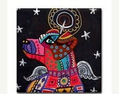 50% OFF- Jack Russell Angel art Tile Ceramic Coaster Mexican Folk Art Print of painting by Heather Galler dog