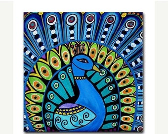 45% Off Today- Peacock art Tile Ceramic Coaster Mexican Folk Art Print of painting by Heather Galler bird