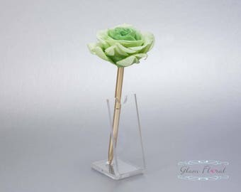 Green Rose Guestbook Pen. Gold Wedding Pen Set, Wedding Pen Holder, Real Touch Rose Flowers. Tea Green, Lime. Tea Rose Collection