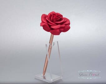Red Rose Guestbook Pen. Rose Gold Wedding Pen Set, Wedding Pen Holder, Real Touch Rose Flowers Christmas Valentines Day. Tea Rose Collection