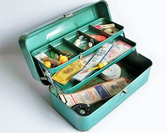 Mid Century Green Tackle Box full of Vintage Tackle - Lures, Fly Reel & More