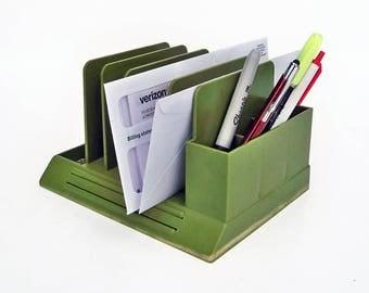 Mid Century Max Klein Avocado Green Plastic Desk Organizer, Pencil Holder, File Holder, Mail Sorter