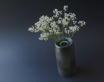 Small wheel thrown vase in Satin black-bronze