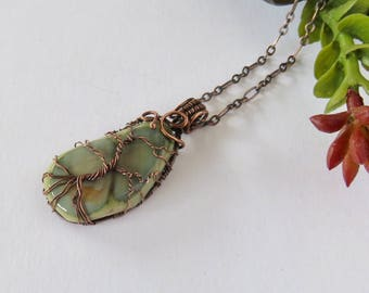 Imperial Jasper Tree Of Life Pendant - Copper Tree Of Life - Copper Pendant Necklace - Unisex Pendant Necklace