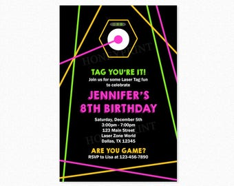 Laser Tag Birthday Party Invitation, Laser Tag Invitation, Pink, Yellow, Green, Girl, Personalized, Printable or Printed