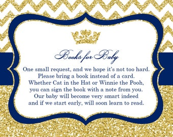 Prince Baby Shower Book Request Cards, Blue, Gold Glitter, Printable PDF