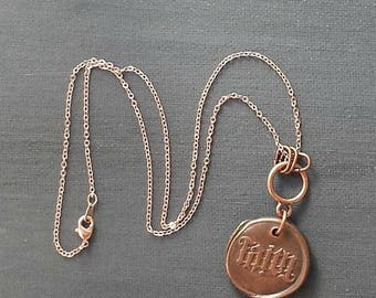 50 PERCENT OFF Copper Word Faith Wax Seal Charm with Rose Gold Chain