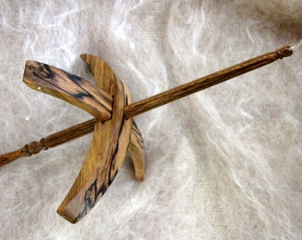 Turkish spindle with hook made in spalted Blackheart Sassafras and Dymondwood - medium size light weight