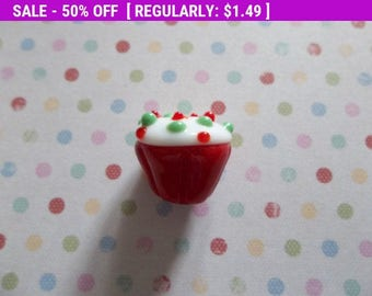 50% OFF Clearance SALE Lampwork Glass 14x17mm Red Cupcake Bead with White Frosting and  Red & Green Sprinkles  - Qty 1