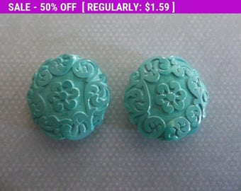 50% OFF Clearance SALE Green Aqua Coin Beads - 22mm Round Beads - Mediterranean Design - Lucite from Germany - Qty 2