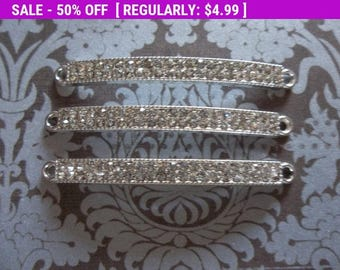 50% OFF Clearance SALE Jewelry Connectors - Long Rectangle Silver Bar Links with Clear Rhinestones - 47 x 4mm - 3 pieces