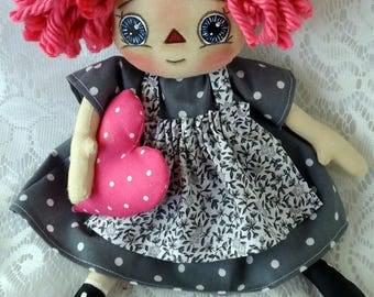 Primitive Raggedy Doll, Prim Rag Doll, Whimsical Doll, Hand Painted Doll, Rag Doll, Country Prim, All is Bright Dolls, 11 inch doll