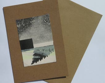 Small original hand printed abstract botanical mini print ACEO Soft dusky yellow green & black on cream paper Stef Mitchell
