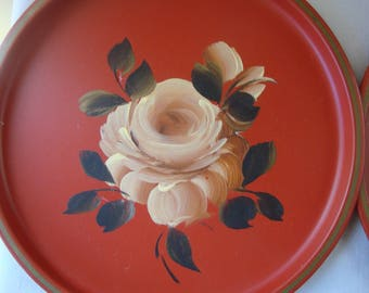 2 Small RED TOLE 8 Inch Trays Vintage Metal Red With BLUSH Roses Round Small Dresser Trays Serving Trays Wall Art
