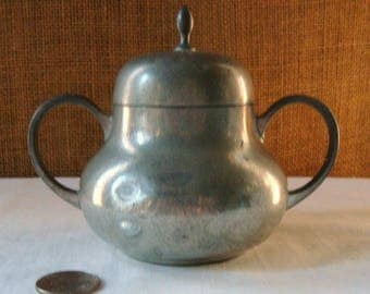 Vintage Covered FARMHOUSE Real Pewter Sugar Bowl Marked Etainfari Tiel C&K Real Pewter Cottage Kitchen Sugar Bowl High Tea Coffee Talk